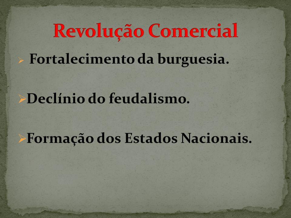 Fortalecimento da burguesia. Declínio do feudalismo. Formação dos Estados Nacionais.
