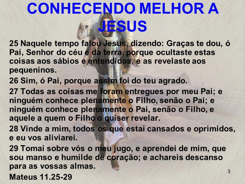 3 CONHECENDO MELHOR A JESUS 25 Naquele tempo falou Jesus, dizendo: Graças te dou, ó Pai, Senhor do céu e da terra, porque ocultaste estas coisas aos s