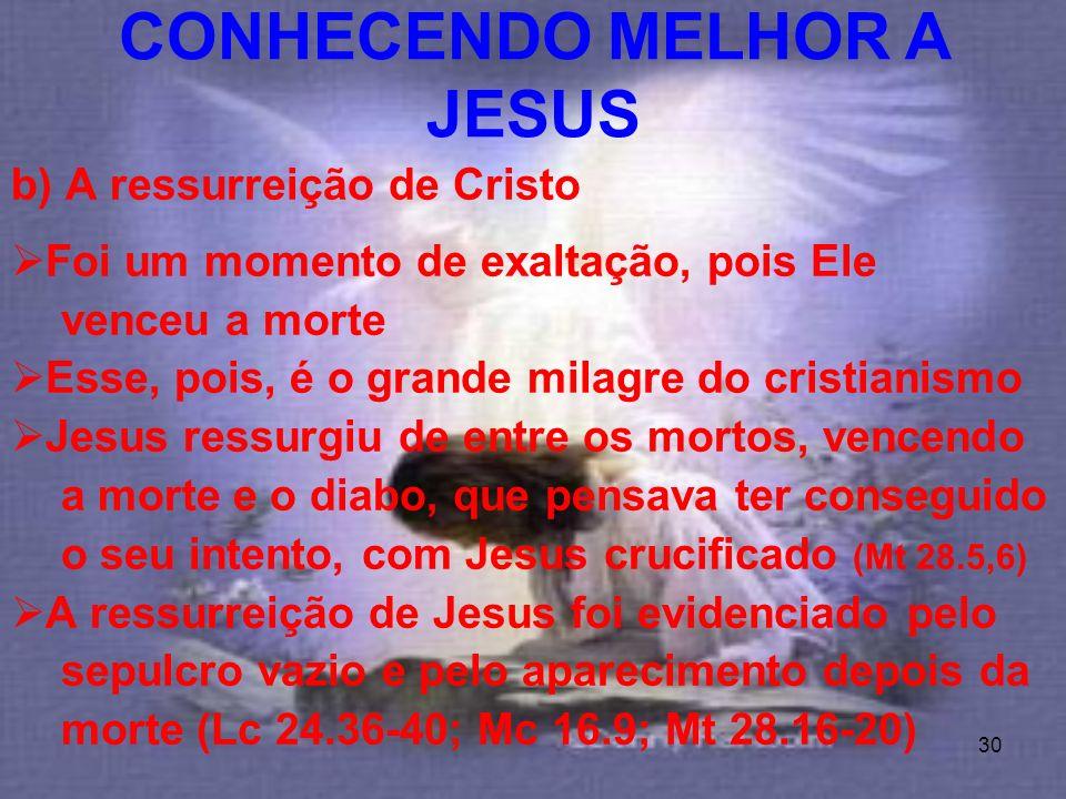 30 b) A ressurreição de Cristo Foi um momento de exaltação, pois Ele venceu a morte Esse, pois, é o grande milagre do cristianismo Jesus ressurgiu de