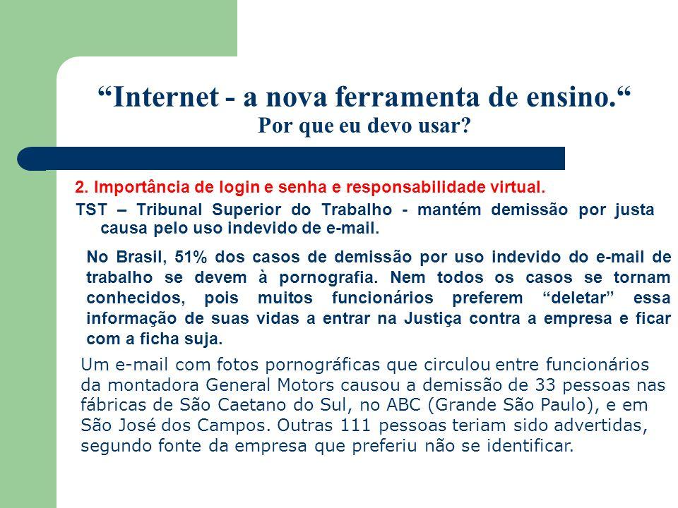Internet - a nova ferramenta de ensino. Por que eu devo usar? 2. Importância de login e senha e responsabilidade virtual. TST – Tribunal Superior do T