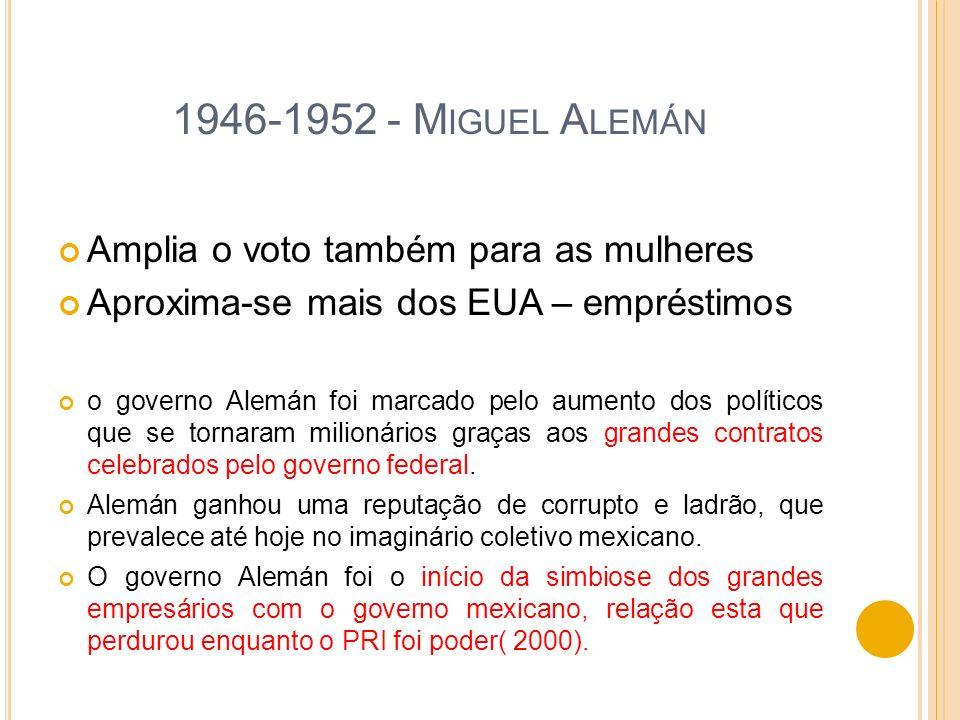 1946-1952 - M IGUEL A LEMÁN Amplia o voto também para as mulheres Aproxima-se mais dos EUA – empréstimos o governo Alemán foi marcado pelo aumento dos