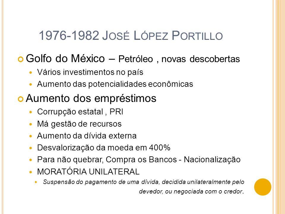 1976-1982 J OSÉ L ÓPEZ P ORTILLO Golfo do México – Petróleo, novas descobertas Vários investimentos no país Aumento das potencialidades econômicas Aum
