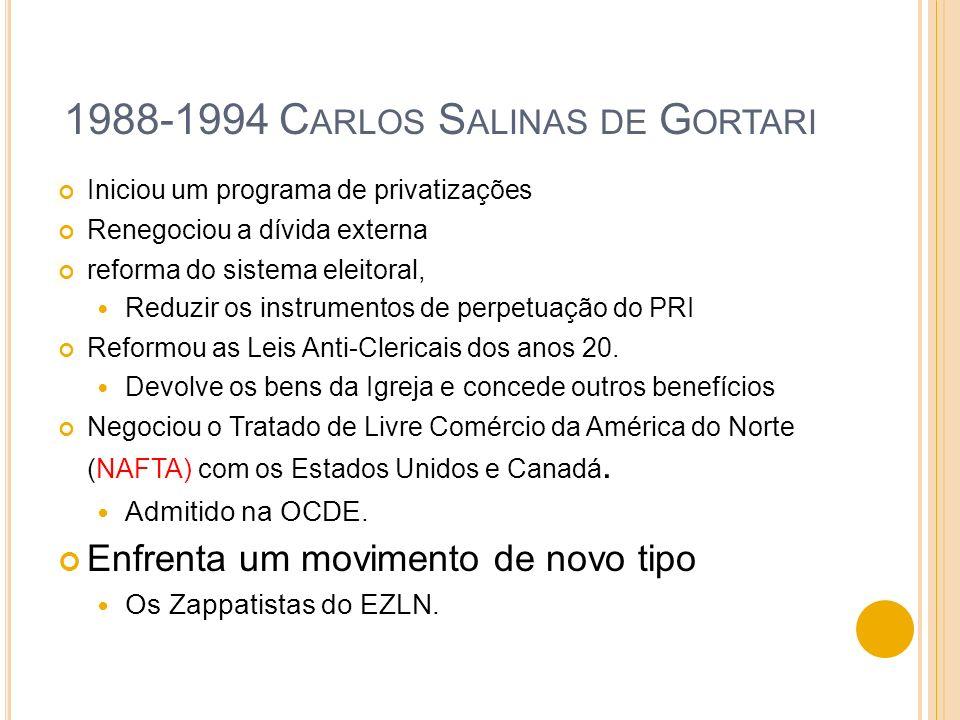 1988-1994 C ARLOS S ALINAS DE G ORTARI Iniciou um programa de privatizações Renegociou a dívida externa reforma do sistema eleitoral, Reduzir os instr