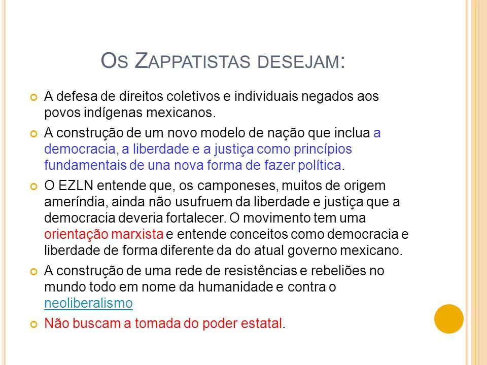 O S Z APPATISTAS DESEJAM : A defesa de direitos coletivos e individuais negados aos povos indígenas mexicanos. A construção de um novo modelo de nação