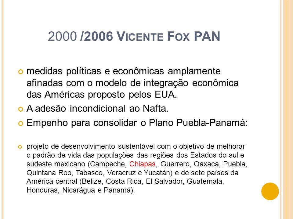 2000 /2006 V ICENTE F OX PAN medidas políticas e econômicas amplamente afinadas com o modelo de integração econômica das Américas proposto pelos EUA.