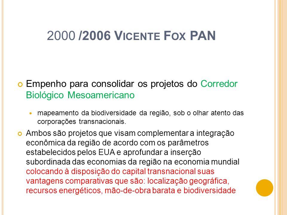 2000 /2006 V ICENTE F OX PAN Empenho para consolidar os projetos do Corredor Biológico Mesoamericano mapeamento da biodiversidade da região, sob o olh