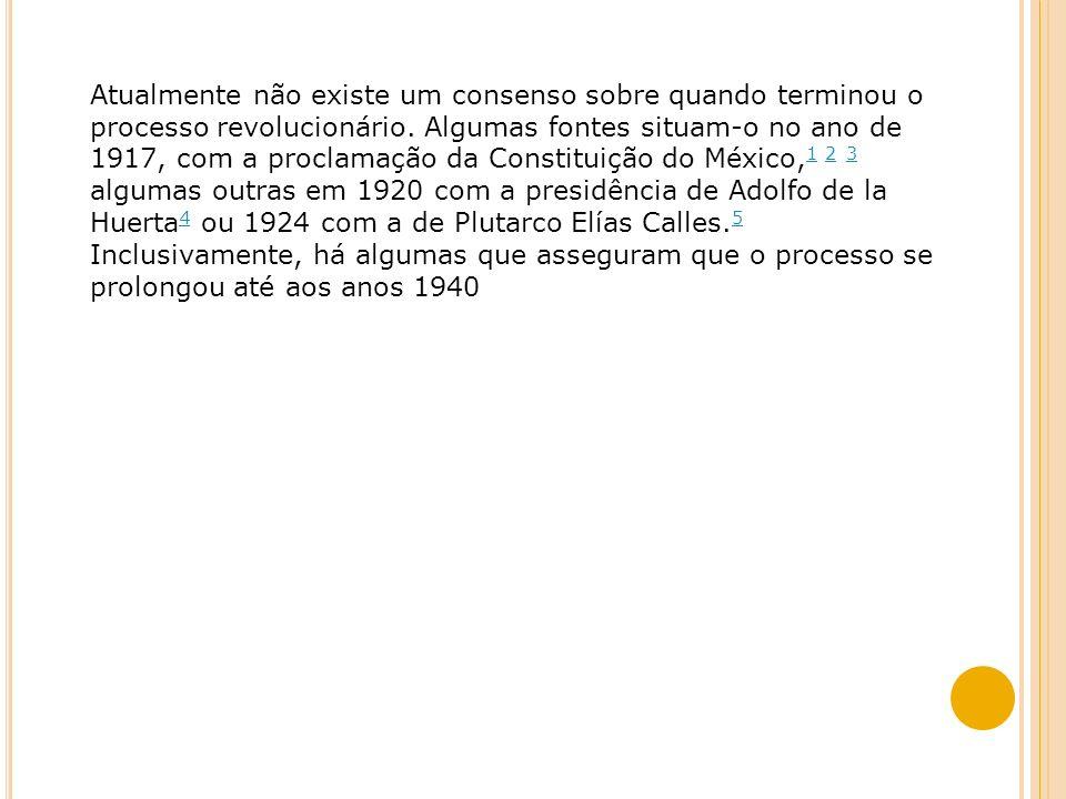 1920/1924 ÁLVARO ÓBREGON: A RECONSTRUÇÃO MEXICANA Controle do movimento sindical Cooptação das altas patentes militares Concessões ao capital estrangeiro O artigo 27 da constituição é julgado na suprema corte e não é retroativo, logo as nacionalizações anteriores são suspensas.
