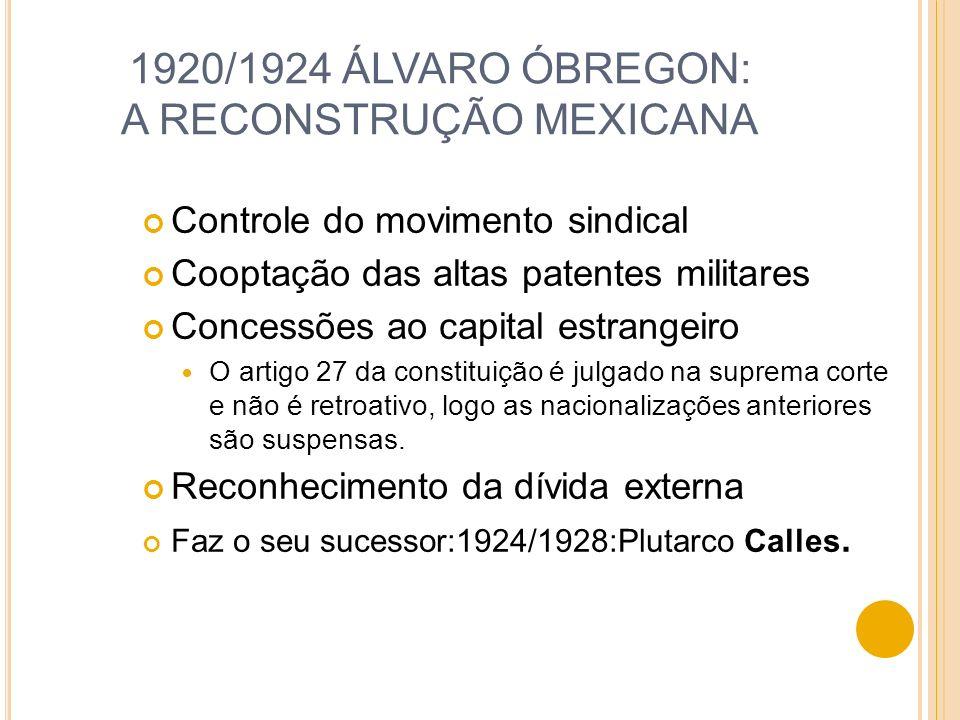 1924/1928:P LUTARCO C ALLES Grandes investimentos dos EUA Garantias de não nacionalização Empresas petrolíferas Conflitos entre o Estado e a Igreja ( 1926 – 1929) Os cristeros (católicos conservadores) e a lutam pelas terras indígenas.