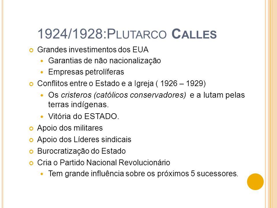 1924/1928:P LUTARCO C ALLES Grandes investimentos dos EUA Garantias de não nacionalização Empresas petrolíferas Conflitos entre o Estado e a Igreja (