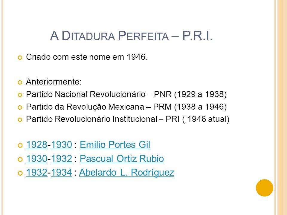 A D ITADURA P ERFEITA – P.R.I. Criado com este nome em 1946. Anteriormente: Partido Nacional Revolucionário – PNR (1929 a 1938) Partido da Revolução M