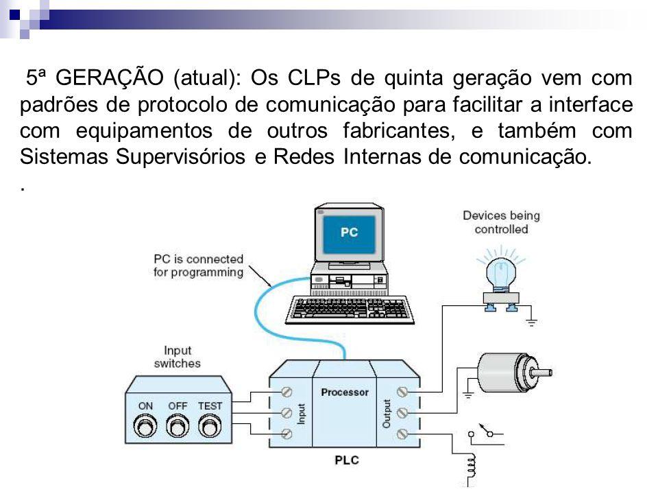 5ª GERAÇÃO (atual): Os CLPs de quinta geração vem com padrões de protocolo de comunicação para facilitar a interface com equipamentos de outros fabric