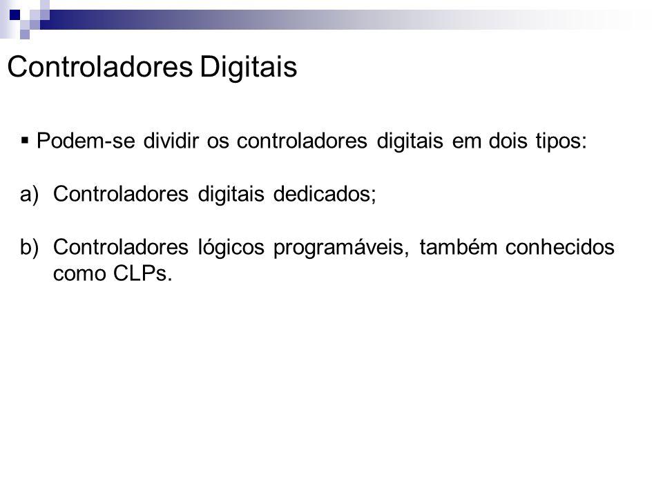 Podem-se dividir os controladores digitais em dois tipos: a)Controladores digitais dedicados; b)Controladores lógicos programáveis, também conhecidos