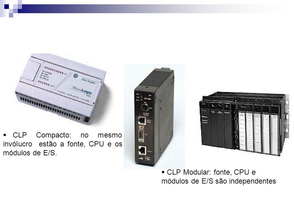 CLP Compacto: no mesmo invólucro estão a fonte, CPU e os módulos de E/S. CLP Modular: fonte, CPU e módulos de E/S são independentes