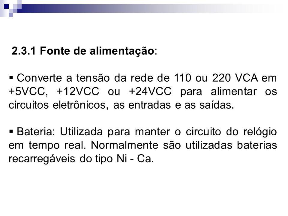 2.3.1 Fonte de alimentação: Converte a tensão da rede de 110 ou 220 VCA em +5VCC, +12VCC ou +24VCC para alimentar os circuitos eletrônicos, as entrada