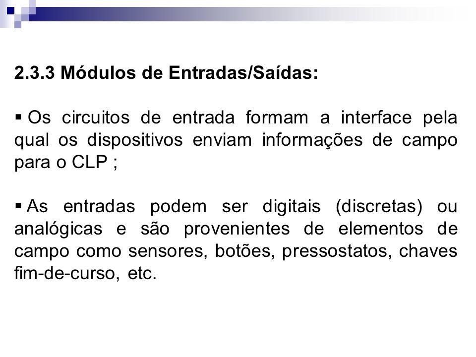 2.3.3 Módulos de Entradas/Saídas: Os circuitos de entrada formam a interface pela qual os dispositivos enviam informações de campo para o CLP ; As ent