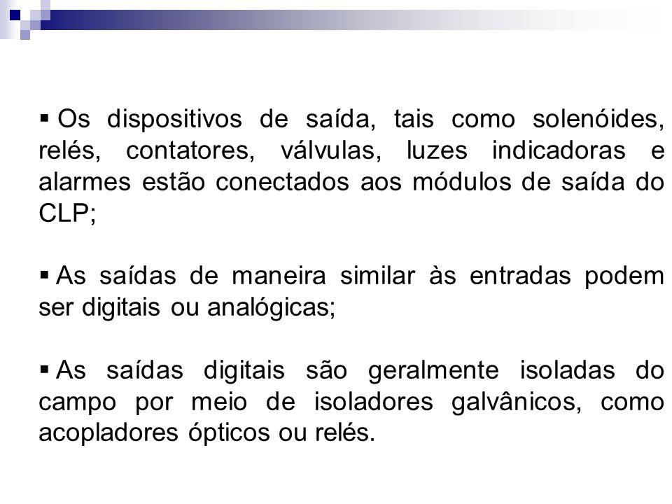Os dispositivos de saída, tais como solenóides, relés, contatores, válvulas, luzes indicadoras e alarmes estão conectados aos módulos de saída do CLP;