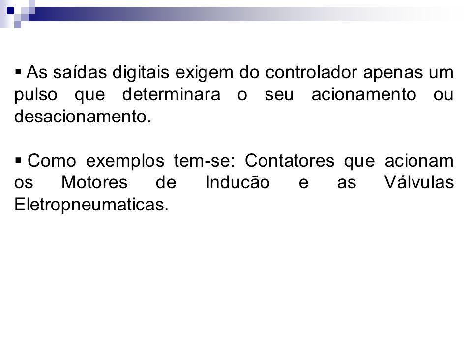 As saídas digitais exigem do controlador apenas um pulso que determinara o seu acionamento ou desacionamento. Como exemplos tem-se: Contatores que aci
