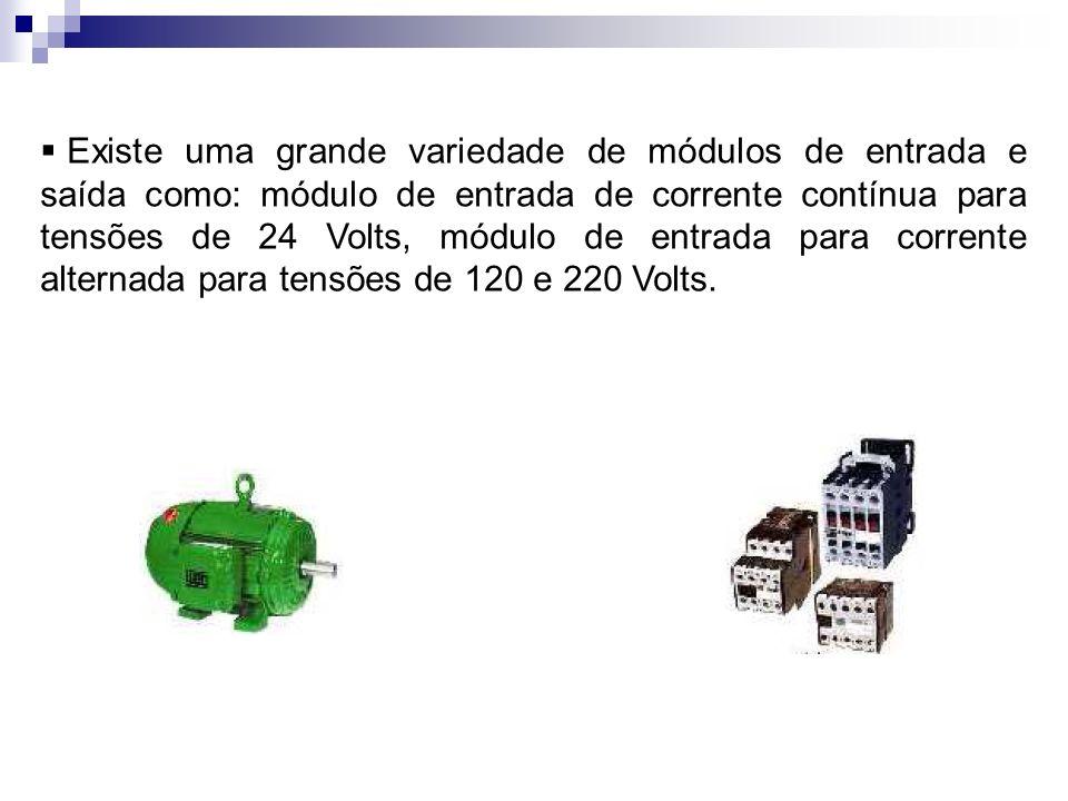 Existe uma grande variedade de módulos de entrada e saída como: módulo de entrada de corrente contínua para tensões de 24 Volts, módulo de entrada par