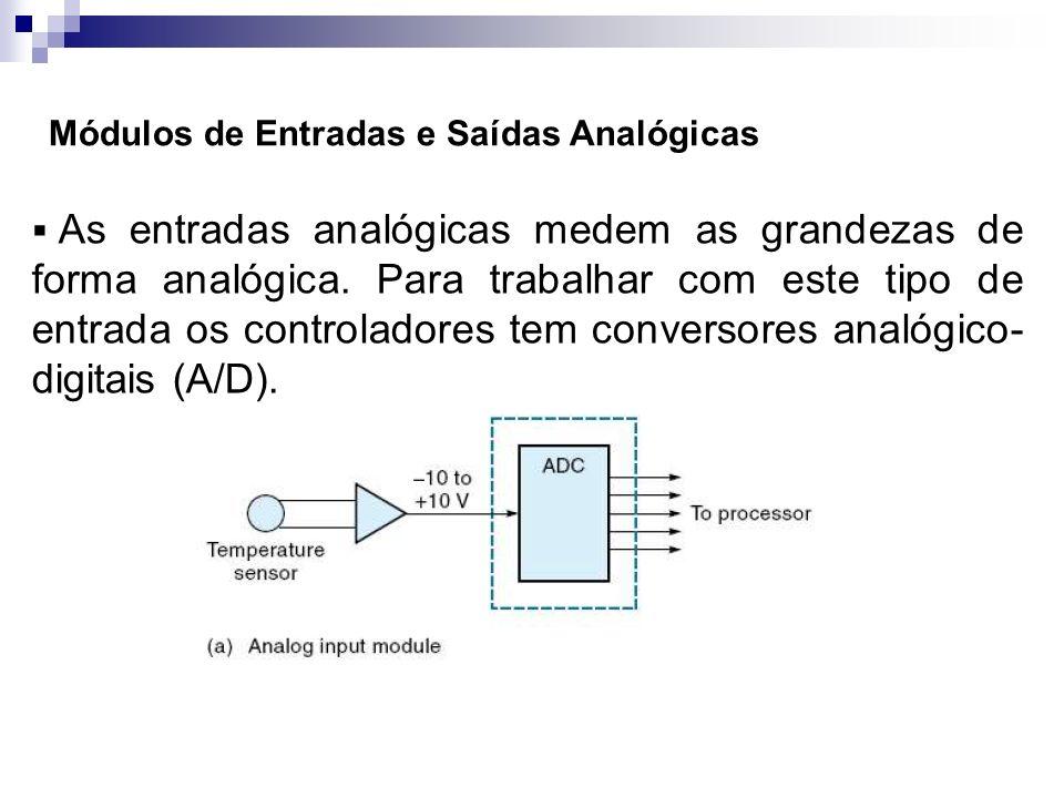 As entradas analógicas medem as grandezas de forma analógica. Para trabalhar com este tipo de entrada os controladores tem conversores analógico- digi