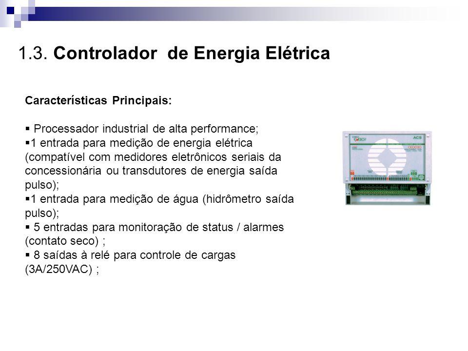1.3. Controlador de Energia Elétrica Características Principais: Processador industrial de alta performance; 1 entrada para medição de energia elétric