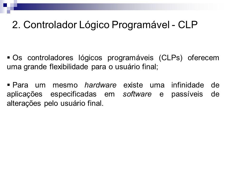 2. Controlador Lógico Programável - CLP Os controladores lógicos programáveis (CLPs) oferecem uma grande flexibilidade para o usuário final; Para um m