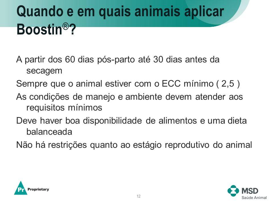 12 Quando e em quais animais aplicar Boostin ® ? A partir dos 60 dias pós-parto até 30 dias antes da secagem Sempre que o animal estiver com o ECC mín