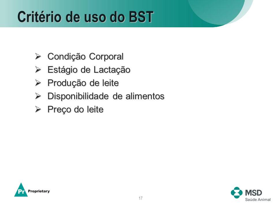 17 Critério de uso do BST Condição Corporal Condição Corporal Estágio de Lactação Estágio de Lactação Produção de leite Produção de leite Disponibilid