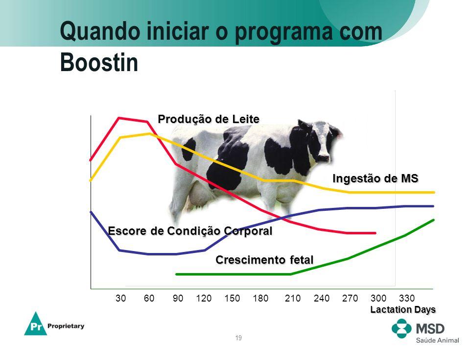 19 Quando iniciar o programa com Boostin 306090120150180210240270300330 Produção de Leite Ingestão de MS Escore de Condição Corporal Crescimento fetal