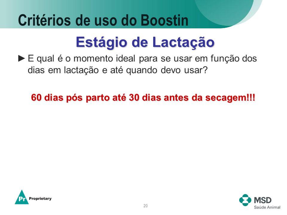 20 Critérios de uso do Boostin Estágio de Lactação Estágio de Lactação E qual é o momento ideal para se usar em função dos dias em lactação e até quan