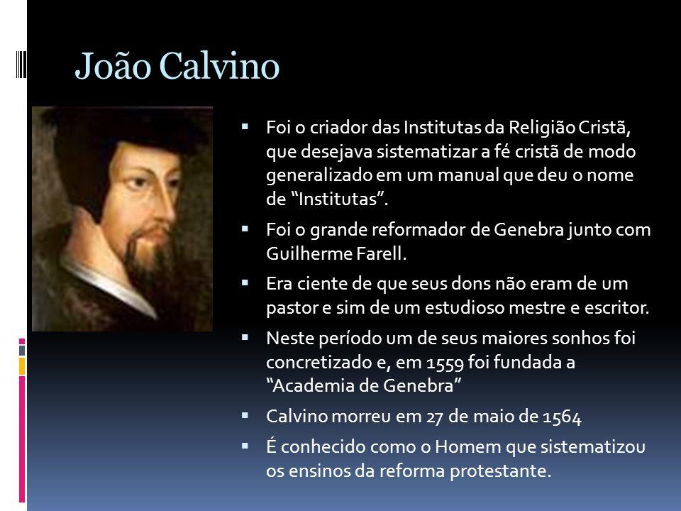 João Calvino Foi o criador das Institutas da Religião Cristã, que desejava sistematizar a fé cristã de modo generalizado em um manual que deu o nome d