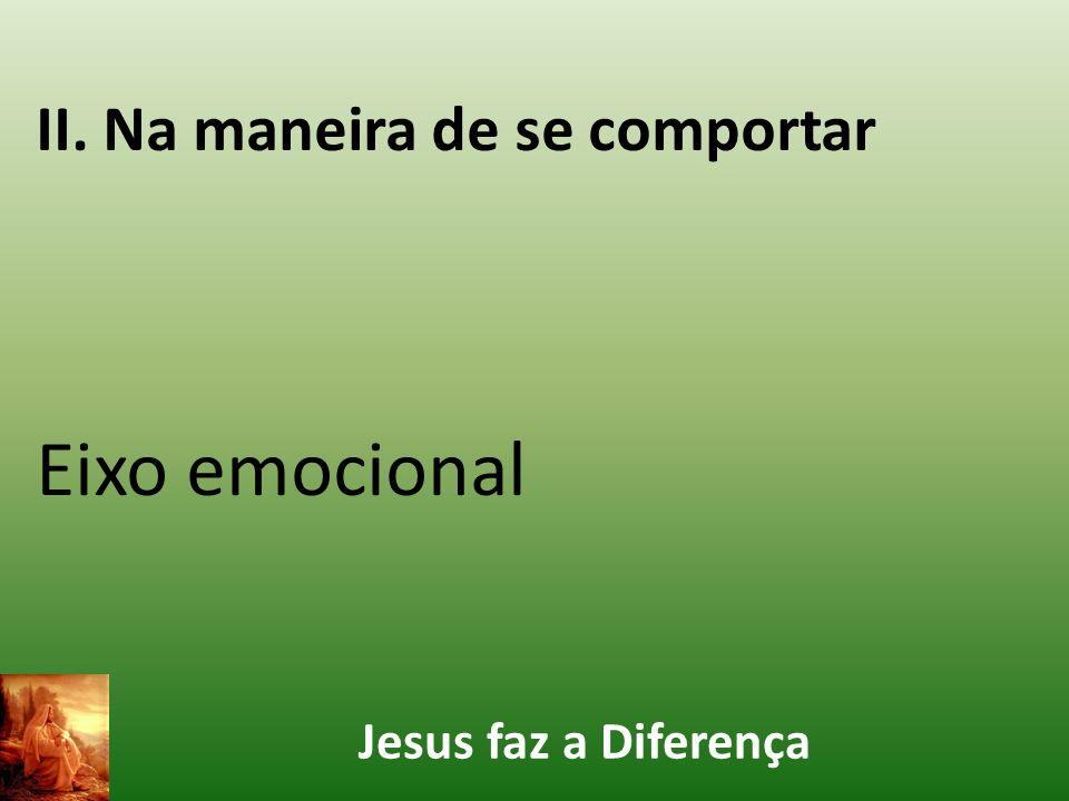 Jesus faz a Diferença II. Na maneira de se comportar Eixo emocional