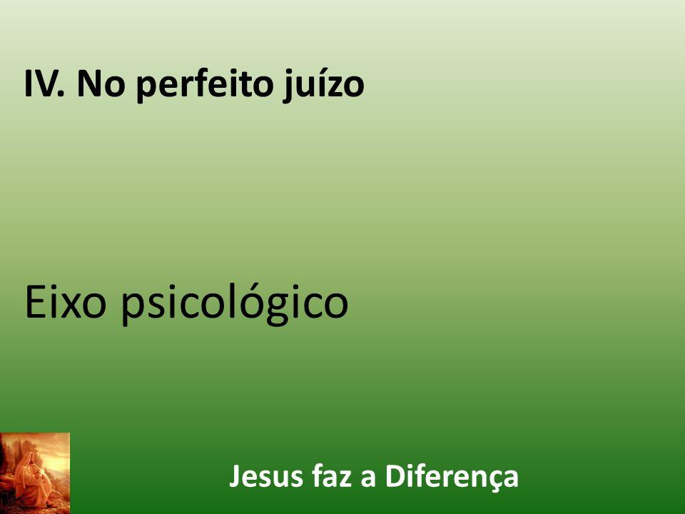 Jesus faz a Diferença IV. No perfeito juízo Eixo psicológico
