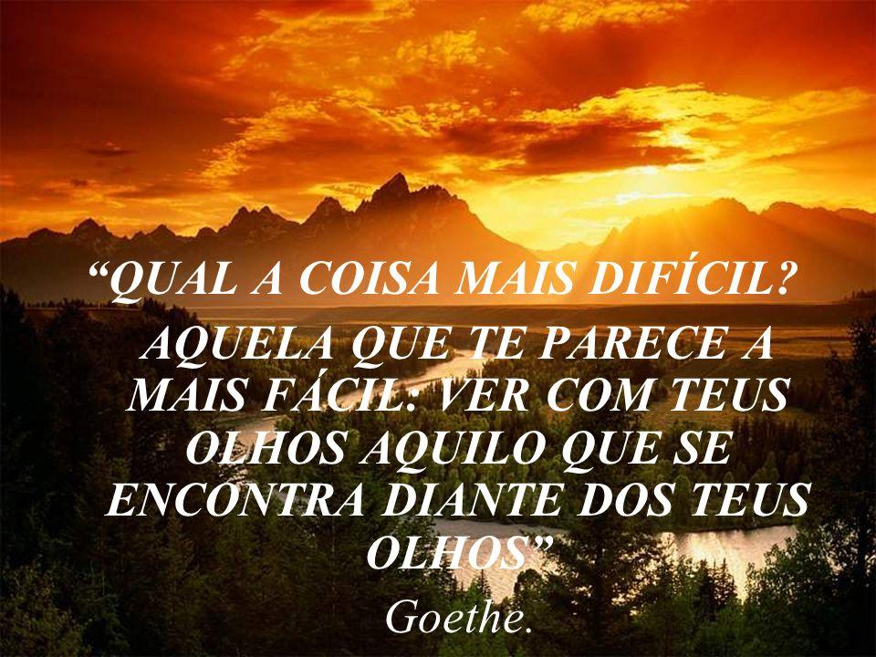 QUAL A COISA MAIS DIFÍCIL? AQUELA QUE TE PARECE A MAIS FÁCIL: VER COM TEUS OLHOS AQUILO QUE SE ENCONTRA DIANTE DOS TEUS OLHOS Goethe.