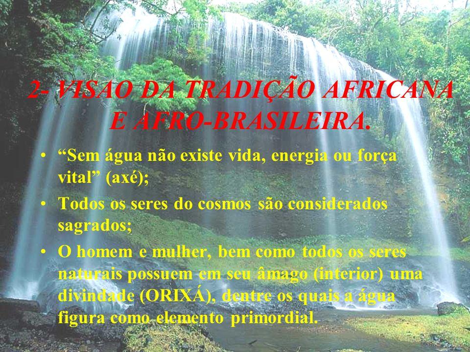 2- VISAO DA TRADIÇÃO AFRICANA E AFRO-BRASILEIRA. Sem água não existe vida, energia ou força vital (axé); Todos os seres do cosmos são considerados sag