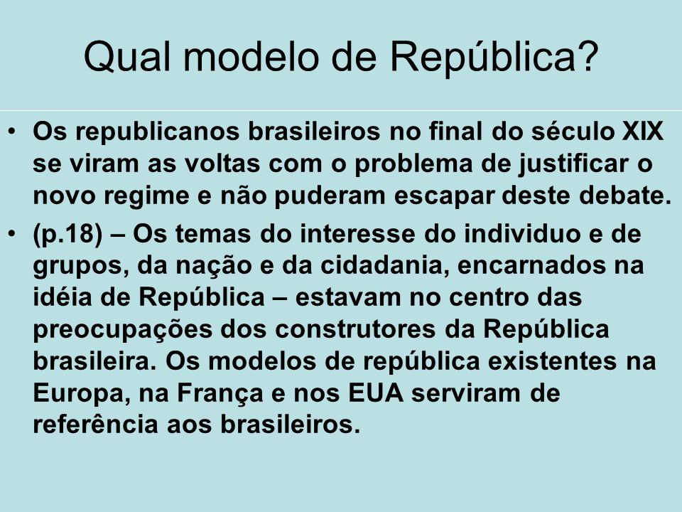 Qual modelo de República? Os republicanos brasileiros no final do século XIX se viram as voltas com o problema de justificar o novo regime e não puder
