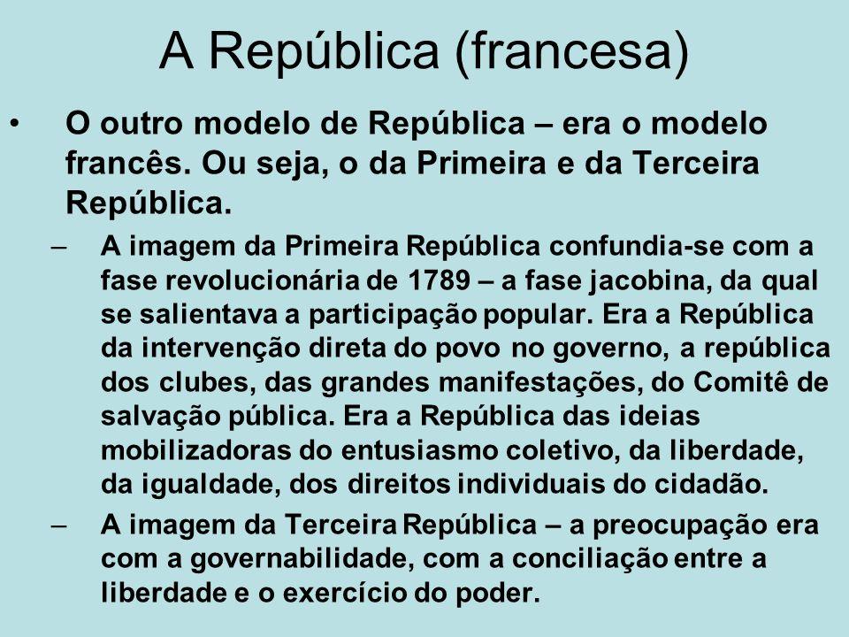 A República (francesa) O outro modelo de República – era o modelo francês. Ou seja, o da Primeira e da Terceira República. –A imagem da Primeira Repúb