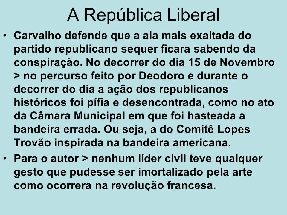 A República Liberal Carvalho defende que a ala mais exaltada do partido republicano sequer ficara sabendo da conspiração. No decorrer do dia 15 de Nov