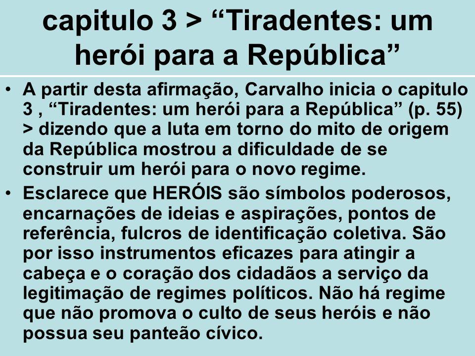 capitulo 3 > Tiradentes: um herói para a República A partir desta afirmação, Carvalho inicia o capitulo 3, Tiradentes: um herói para a República (p. 5
