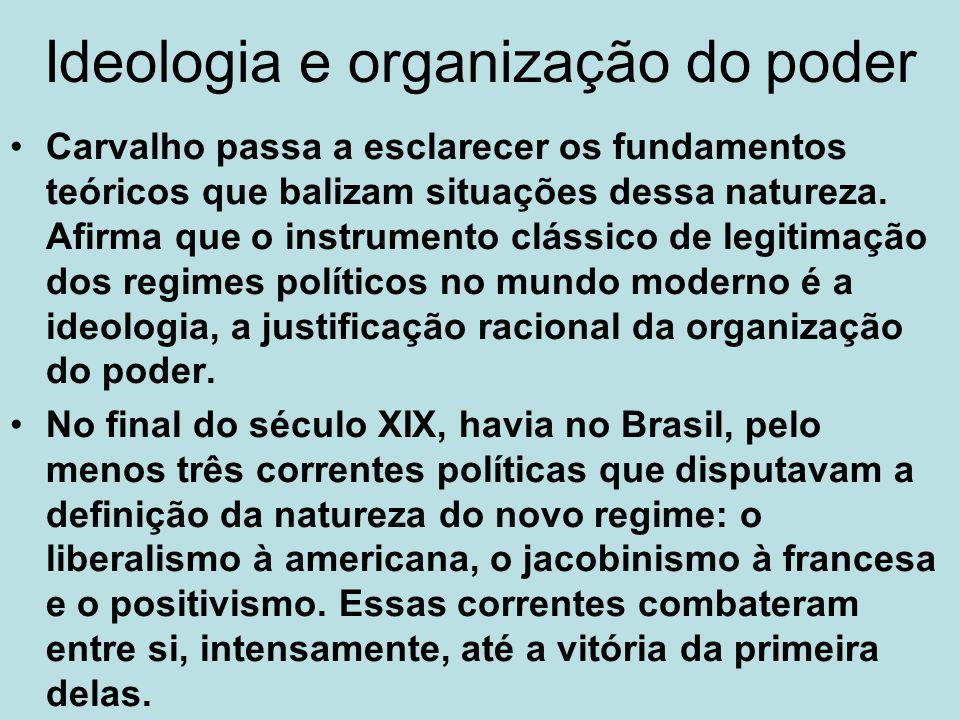 Os modelos ideológicos de organização da República As justificativas ideológicas (discursivas) supunham modelos de República, modelos de organização da sociedade, que traziam embutidos aspectos utópicos e visionários..