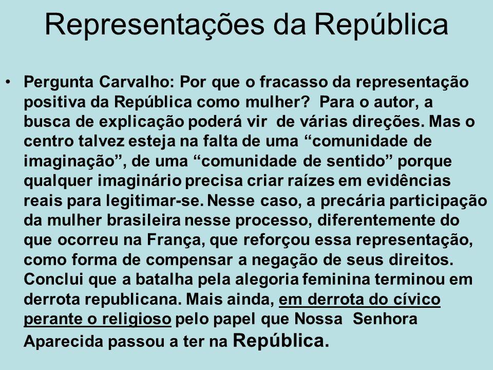 Representações da República Pergunta Carvalho: Por que o fracasso da representação positiva da República como mulher? Para o autor, a busca de explica