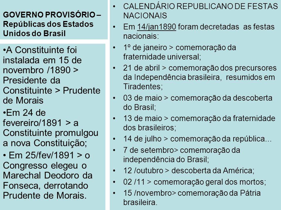 GOVERNO PROVISÓRIO – Repúblicas dos Estados Unidos do Brasil CALENDÁRIO REPUBLICANO DE FESTAS NACIONAIS Em 14/jan1890 foram decretadas as festas nacio