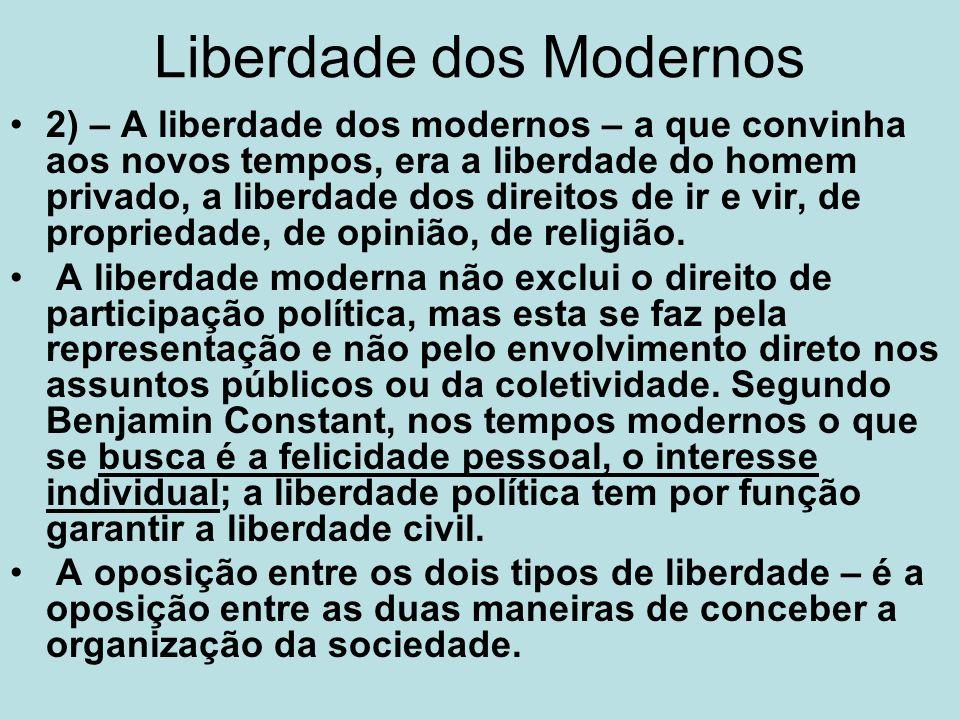 Liberdade dos Modernos 2) – A liberdade dos modernos – a que convinha aos novos tempos, era a liberdade do homem privado, a liberdade dos direitos de