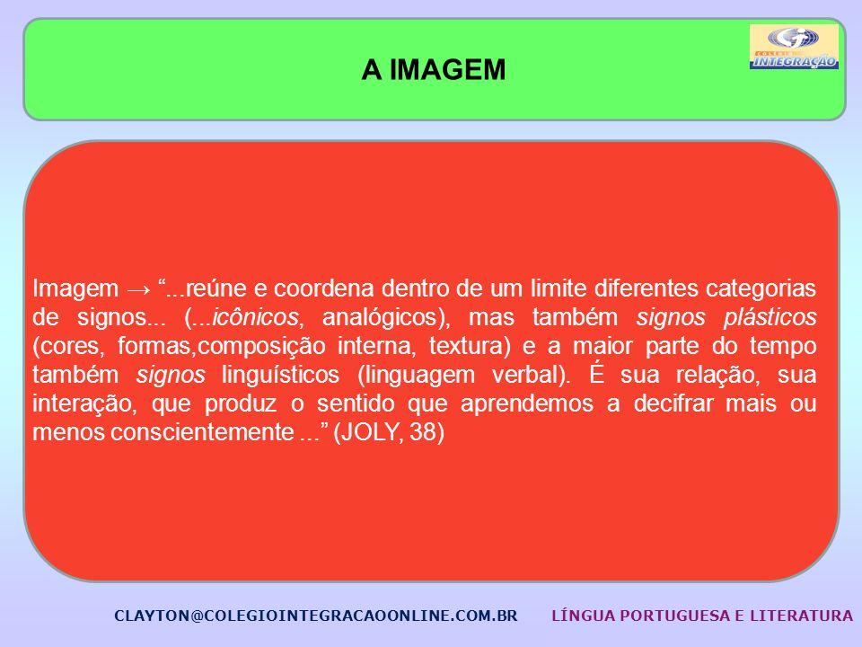A IMAGEM Imagem...reúne e coordena dentro de um limite diferentes categorias de signos... (...icônicos, analógicos), mas também signos plásticos (core