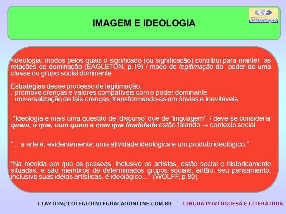IMAGEM E IDEOLOGIA Ideologia: modos pelos quais o significado (ou significação) contribui para manter as relações de dominação (EAGLETON, p.19) / modo