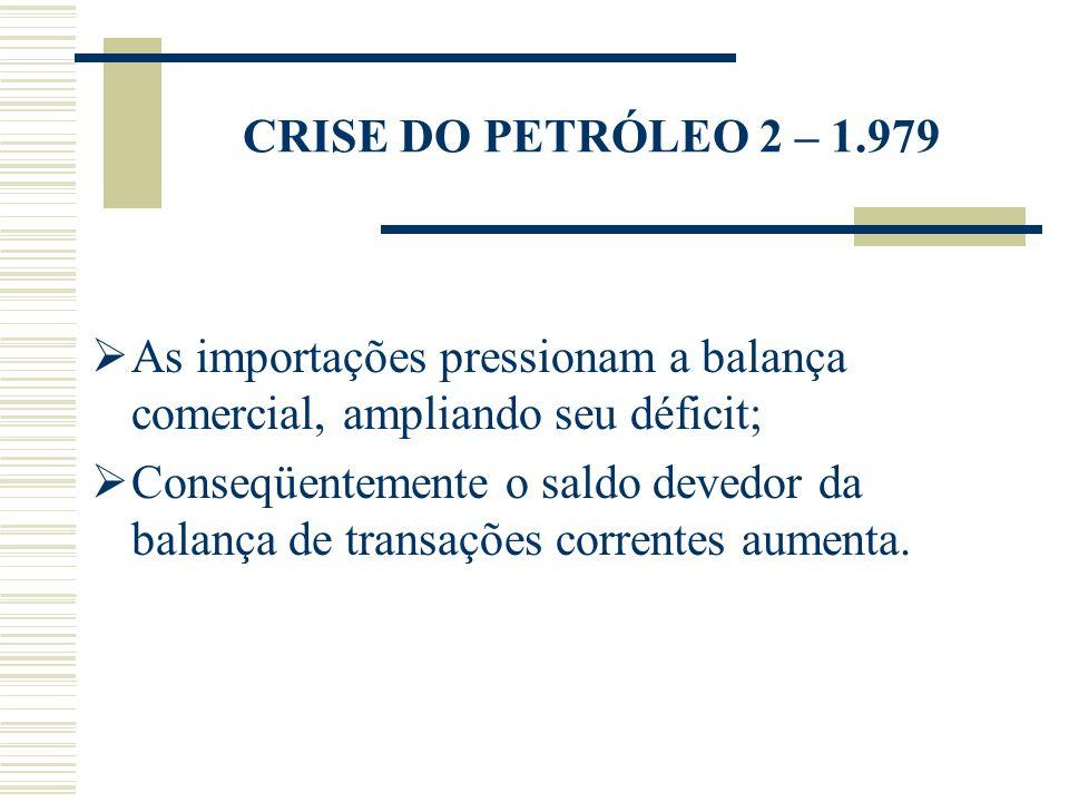 CRISE DO PETRÓLEO 2 – 1.979 As importações pressionam a balança comercial, ampliando seu déficit; Conseqüentemente o saldo devedor da balança de trans