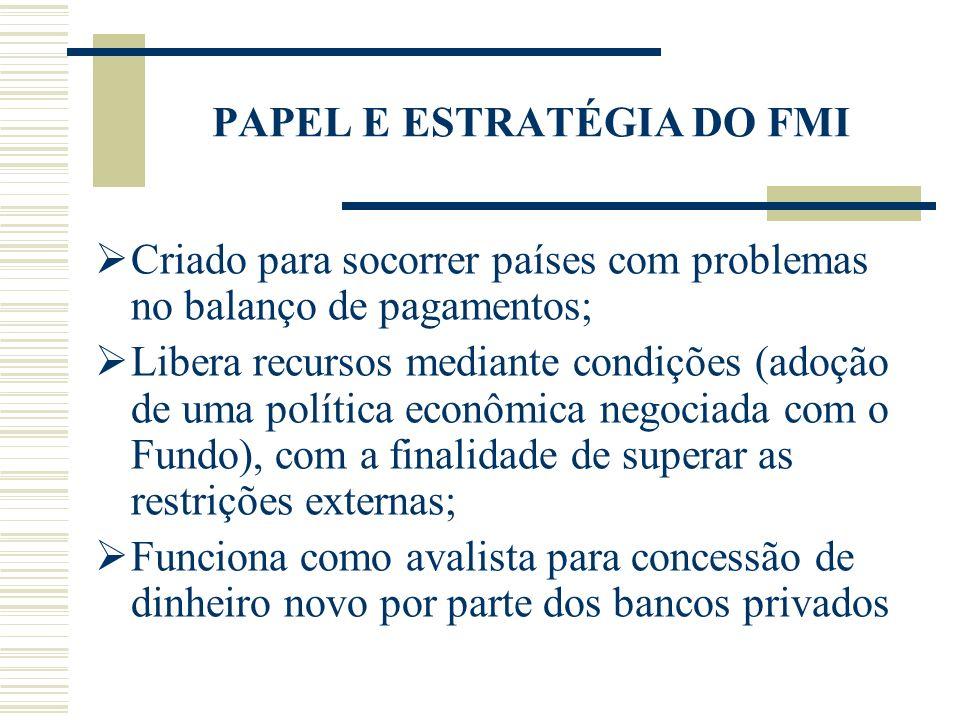 PAPEL E ESTRATÉGIA DO FMI Criado para socorrer países com problemas no balanço de pagamentos; Libera recursos mediante condições (adoção de uma políti