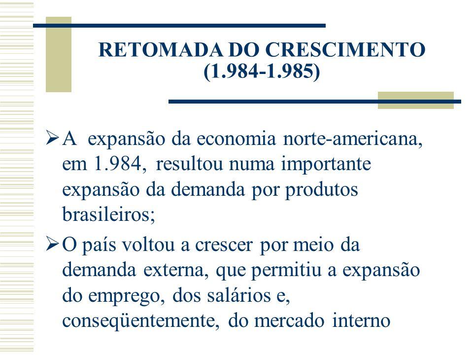 RETOMADA DO CRESCIMENTO (1.984-1.985) A expansão da economia norte-americana, em 1.984, resultou numa importante expansão da demanda por produtos bras