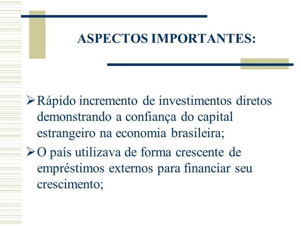 ASPECTOS IMPORTANTES: Rápido incremento de investimentos diretos demonstrando a confiança do capital estrangeiro na economia brasileira; O país utiliz