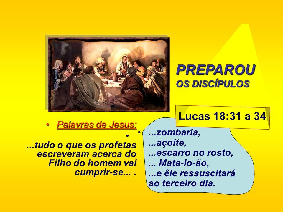 Lucas 18:31 a 34 Palavras de Jesus:Palavras de Jesus:...tudo o que os profetas escreveram acerca do Filho do homem vai cumprir-se.......zombaria,...aç