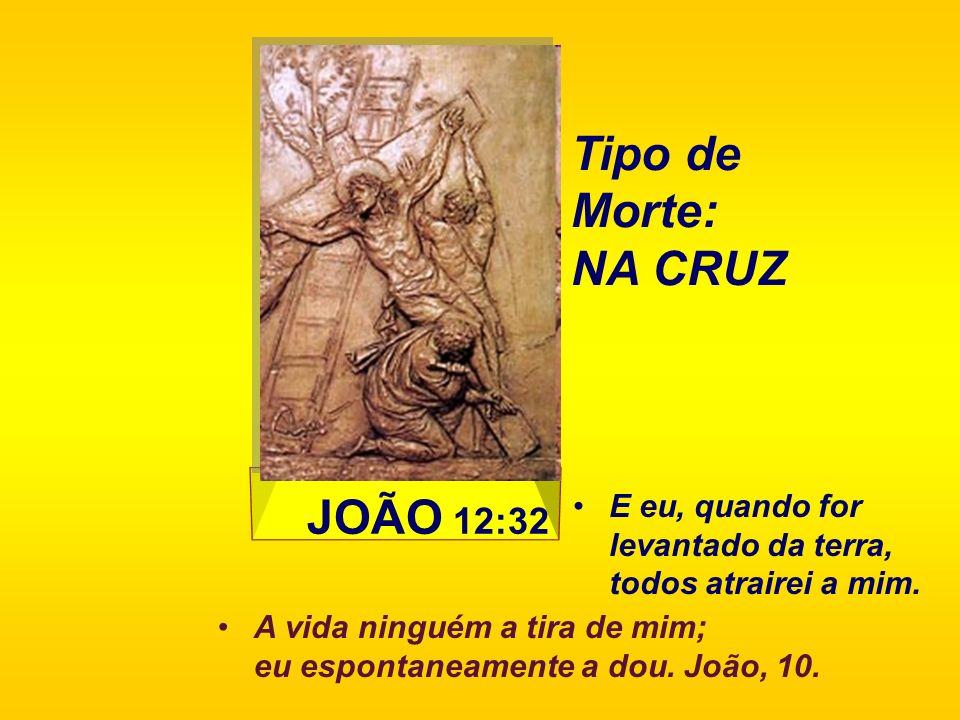 JOÃO 12:32 E eu, quando for levantado da terra, todos atrairei a mim. Tipo de Morte: NA CRUZ A vida ninguém a tira de mim; eu espontaneamente a dou. J